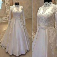 vestido de novia musulmán satinado al por mayor-Vestidos de boda musulmanes con cuello alto y estilo vintage 2019 Con encaje de manga larga Camisas de novia de satén con cinturón
