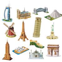 tour eiffel pour mur achat en gros de-Usine en gros 3D papier puzzle Monde modèle architectural Tour Eiffel Grande Muraille enfants Développement intellectuel puzzle