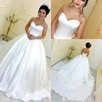 Wholesale princess wedding dresses for sale - Group buy Plain Satin Simple Ball Gown Wedding Dresses Saudi Arabic Sweetheart Floor Length Princess Vestidos Backless Wedding Party Gowns BC1397