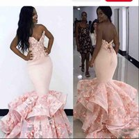 Wholesale gold prom dresses for sale - 2K19 Mermaid Prom Dresses Flora Appliques Backless Evening Gowns Sweetheart Lace Bottom Tiered South African Cocktail Party Dress