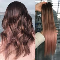 Wholesale rose ombre hair resale online - Remy Human Hair Double Weft Hair Extensions Balayage Ombre Color Dark Brown Fading to Rose gold Ombre Color Extensions