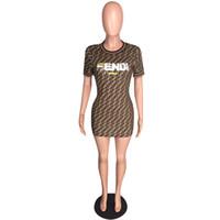 t shirt boynu elbise toptan satış-Yaz kadın bodycon mini dress f mektuplar baskı kısa kollu ekip boyun kısa etek marka t gömlek elbiseler çalışma kulübü parti giymek yeni c43008