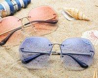melhores óculos sem moldura venda por atacado-Mulheres óculos de sol de férias de praia óculos de sol lente Frameless moda óculos 8 cores novo estilo verão óculos de sol Best Selling