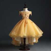 Wholesale golden short dresses resale online - Golden Tulle Flower Girls Dresses Pearls Appliques Kids Princess Bridesmaid Clothes Girl Pageant Holiday Gown First Communion Dresses