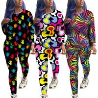 jerseys de mano al por mayor-Diseñador de las mujeres Rainbow Color Chándal 3D Love Heart Hand Print Pullover Sudadera Leggings Pantalones 2Pcs Set Outfit Casual Homewear C82904