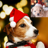 Wholesale warm pet hat for winter for sale - Group buy Cute Red Santa Claus Velvet Winter Warm Hat for Pet Dog Cat Head Christmas Party Pet Costume Supplies