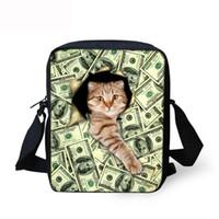 смешные сумочки оптовых-Kawaii Fashionable Stylish Funny Women Girl Messenger Bags 3D Denim Shoulder Handbags Cute Cat Crossbody Bag Christmas Gift