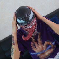 ingrosso cappellini interi-The Venom Mask with Long Tongue Halloween Cosplay Spiderman Edward Brock Dark Supereroe Venom Latex Horror Maschere Beanie Hat