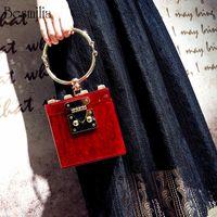 Wholesale black metal evening bag for sale - Group buy Luxury Handbags Women Bags Designer Square Acrylic Clutch Evening Bag Metal Wristlets Mini Party Bag Trunk Shape Purse Beach Bag Y19061204