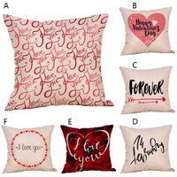 almohadas de san valentin al por mayor-Happy Valentine's Day Throw Pillow Case Sweet Love Funda de almohada Fundas de almohada para elementos decorativos A30306