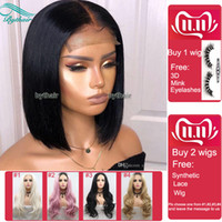 Wholesale malaysian human hair lace front for sale - Group buy Bythair Short Bob Silky Straight Peruvian Human Hair Full Lace Wigs Baby Hairs Pre Plucked Natural Hairline Lace Front Wig Bleached Knots