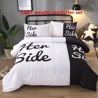 modern yorganlar toptan satış-Ev Yatak Beyaz ve Siyah Onun Yan Onun Yan Polyester Aşıklar Birlikte Hafif Yaz Yorgan Set Kraliçe İnce Yorgan Seti Yatak Spr