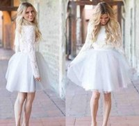 Wholesale short celebrities online - Modest Short Cocktail Dresses Jewel Knee Length Tulle Lace Long Sleeve Celebrity Dresses Party Evening Wear