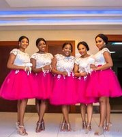 Wholesale tulle dresses for sale - Group buy 2020 African Fuchsia Short Bridesmaid Dresses Lace Applique Tulle A Line Plus Size Knee Length Maid Of Honor Wedding Guest Dresses