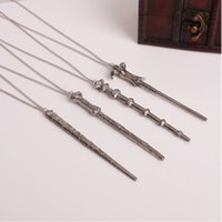 Wholesale magic wand pendant resale online - Magic Novel Vintage Necklace Classic Goblet of Fire Necklace Alloy Magic Wand Pendant Necklace Keychain gifts toy for man woman