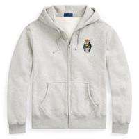 graue strickjacke männer großhandel-Amerikanische Marke männlich Designer Cardigan Kapuzenpullover Bär Stickerei mit Kapuzenpullover Jacke Herren Herbst Flut Zipper schwarz grau Jacken