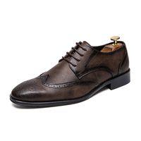 spitzen männer schuh großhandel-Männer Casual Einfache Spitze Schuhe Britischen Stil Business Kleid Schuhe Männer Formale Lace Up Oxfords Schuhe Brogue Komfortable Zapatos