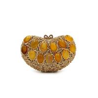 Dgrain Bridal Metal Clutch Bag Women Crystal Yellow Evening Bag Wedding  Party Handbags Purse Lady Diamond Rhinestone Clutches c5085d10c442