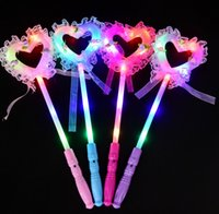 Wholesale music wands resale online - Glowing Fairy Stick Children s Flash Magic Wand Stage Performance Props Magic Wand Princess Stick For Concert Dancing Music Party Gift CY55