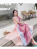 vestido de mosaico de arco iris al por mayor-2019 Nuevo diseñador de pista de verano plisado vestido largo sin mangas de las mujeres de lujo del arco iris Colorfull Patchwork volantes gasa vestido maxi