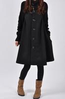 senhoras tops saia longa venda por atacado-Lã Ladies alta Long Neck saia Coats Inverno Misturas Casacos Womens roupas soltas Tops Mulher Jaquetas Casacos S-5XL Plus Size