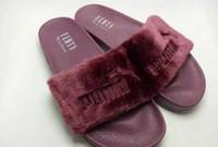 ingrosso sandali neri delle donne nuovo modo-A buon mercato Nuovo RIHANNA LEADCAT FENTY DONNA CIABATTE Ragazze moda coperta scorrevole sandali Scuffs grigio / rosa / nero / bianco