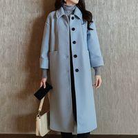 chaqueta azul coreana al por mayor-Mujeres Lana Mezclas caída chaqueta de la capa de las mujeres del invierno del otoño de Corea del ocio Abrigo elegante largo capas de las chaquetas Blend Blue Sky Tops