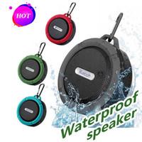 sprachlautsprecher großhandel-C6 bluetooth lautsprecher ipx7 outdoor sports dusche tragbare wasserdichte drahtlose lautsprecher saugnapf freisprecheinrichtung mic voice box 5 farben