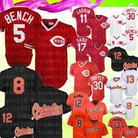 ingrosso barry larkin-Retro Cincinnati 5 Reds Johnny Bench 11 Barry Larkin 19 Joey Votto Jersey Baltimore 8 Cal Ripken Jr. Orioles 12 Roberto Alomar Baseball