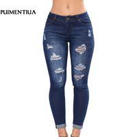 tamanhos de jeans femininos venda por atacado-Puimentiua New Mulheres Slim cintura alta Casual Denim Jeans Plus Size jeans stretch Cuecas Riped Zipper Skinny lápis