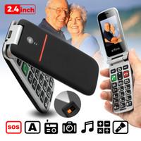 teléfonos celulares de botón grande al por mayor-Flip Elder Teléfono celular Buen teléfono viejo Botón grande Fácil Batería grande Altavoz Loos SOS Botón lateral Tarjeta Dual Sim