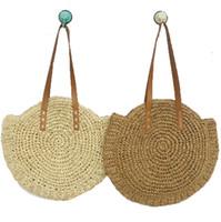Wholesale woven style handbags resale online - 4 colors Grass Weaving Handbag Bohemia Classic National Style Women leisure Beach Shoulder Bags Travel Shopping storage bag C6853