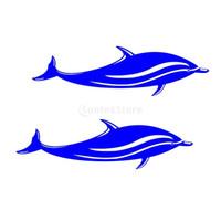adesivos de carro de surf venda por atacado-2 Peças Golfinho Decalques de Vinil Adesivos para Caiaque Canoa Barco Prancha de Surf Para Casa Decoração - 18x5 cm