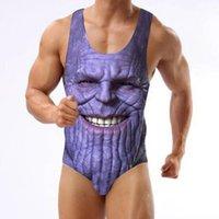 männer einteilige badeanzüge großhandel-Neu eingetroffen Avengers Print Einteiliger Badeanzug Thanos Bikini Beachwear Badeanzug S-3XL für Herren