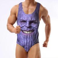 стринги из бикини оптовых-Новые поступления Мстители Печать цельный купальник Thanos Bikini Beachwear Thong Купальники S-3XL для человека