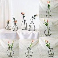 Wholesale ceramic vases home decor for sale - Group buy New Style Home Party Decoration Retro Iron Line Flowers Vase Metal Plant Holder Modern Solid Home Decor Nordic Styles Iron Vase