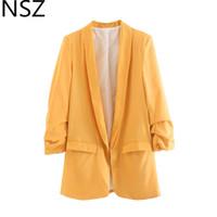 frauen s gelbe business jacken großhandel-NSZ Frauen Solide Yellow Office Lady Blazer Mujer Langarm Arbeit Business Jacke Weiblichen Mantel Oberbekleidung