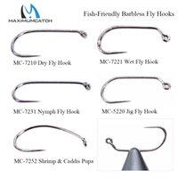 Wholesale fly tying fishing hooks for sale - Group buy fly fishing Maximumcatch Fish Friendly Barbless Fly Tying Dry Wet Nymph Shrimp Caddis Pupa Jig Fishing Hooks