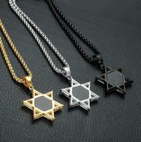 gümüş hexagram toptan satış-David yıldızı Kolye Kolye-Kristal Paslanmaz Çelik Heksagram Erkekler Kadınlar Için Free-Mason Kolye tasarımcı lüks Takı Altın Gümüş