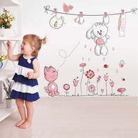 teddybär karikatur rosa groihandel-Rosa Cartoon-Katze-Kaninchen-Blumen-Wand-Aufkleber für Baby-Kind-Zimmer Wohnkultur Teddybär Regenschirm Klassenzimmer Wandaufkleber
