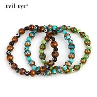ingrosso gioielli male blu occhio-Braccialetto di fascino di cristallo di EYE di EVIL braccialetto perline di vetro 8mm 6mm blu perline braccialetto di perline 2019 gioielli di moda regalo per le donne degli uomini EY6245