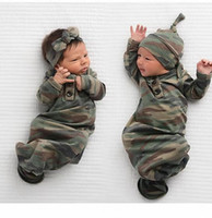 Wholesale baby clothes europe resale online - Europe Baby Infant Sleeping Bag Kids Camouflage Sleeping Bags Blanket Child Cotton Pajamas Nightclothes Headband Hat A379