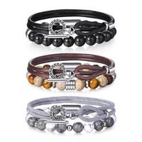 мужские кожаные бисерные браслеты оптовых-Trendsmax 2Pcs/Set Genuine Leather Bracelets Natural Map Stone Men's Beaded Bracelet for Mens Boys Charm Jewelry Gift TBX002
