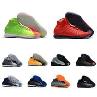 zapatos verdes negros de interior al por mayor-Descuento nuevos botines de fútbol para hombre Hypervenom X Proximo Ii Df Ic Gris / negro Rojo / verde Zapatos de entrenamiento de fútbol para hombre en interiores