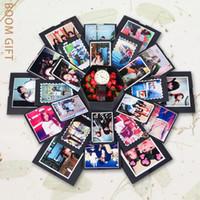 kraftpapieralben großhandel-Hexagon große Überraschung Explosion Box Blooming Scrapbook Foto DIY magisches spezielles Foto Album Valentine Gift Kraft Paper