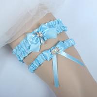 4c90b41e11a Blue Wedding Garters For Bride Bridal Garter Set with Rhinestones Toss Away  and Keep One Leg Garter Belt Set Something Blue Free Shipping