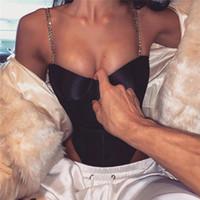 mono transparente al por mayor-Correa de metal Sexy Body Mujeres 2019 Verano Off Hombro Malla Transparente Negro Jumpsuit Night Club Party Bodycon Overol