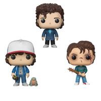 velhas figuras de ação venda por atacado-Brand new FUNKO POP Steve 475 Dustin sapo 593 617 Stranger Things Dustin Figura Onze Figura de Ação Marca Toy para coleções