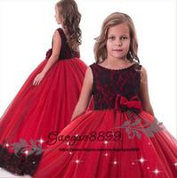 flor roja de encaje negro al por mayor-2019 rojo y negro de encaje con cuentas Niñas Vestidos del desfile Fiesta de boda Dama de honor de cumpleaños de encaje de tul barato vestido de niña de flores