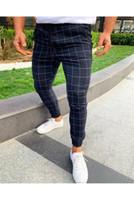 männer s sexy beine großhandel-Sexy High Wasit Frühlings-Sommer-Mode-Taschen-Männer Slim Fit Plaid Straight Leg Hose-beiläufige Bleistift Jogger beiläufige Hosen